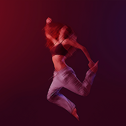 Young modern style dancer jumping and performing on a dark background with smoke: vitality and energy concept